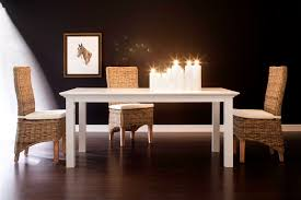 White Painted Solid Wood Dining Table Halifax - White and wood kitchen table