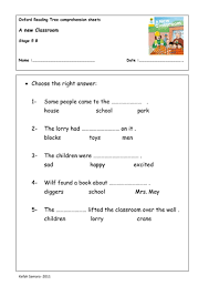 oxford reading tree comprehension sheets by zkfn teaching