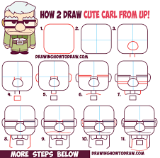how to draw carl fredricksen the old man from pixar u0027s up cute