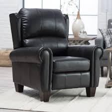Black Leather Recliner Chair Chair Eucalyptus Foam Leather And Mahogany Wood Construction