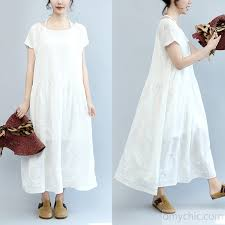 summer white casual cotton dresses plus size embroidery sundress