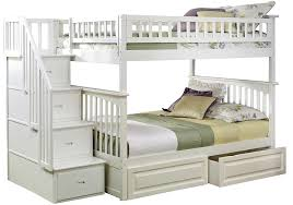 Amazoncom Columbia Staircase Bunk Bed With  Raised Panel Bed - White bunk bed with drawers
