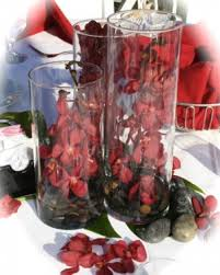 Set Of 3 Cylinder Vases Of 3 Cylinder Vases With Orchids And Rocks Centerpiece