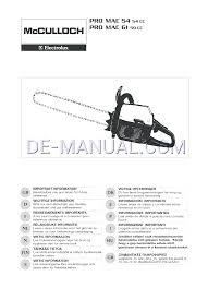 manual de usuario para motosierras mcculloch electrolux pro mac 54