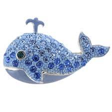 sapphire blue whale swarovski crystal brooch pin fantasyard