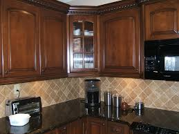 Stain Kitchen Cabinets Darker Black Stained Wooden Island Set Design Brown Mosaic Tile