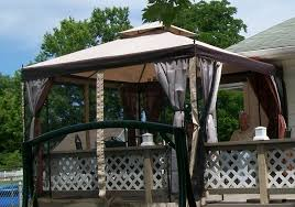 outdoor gazebo with shower curtains for privacy outside pool