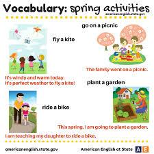 vocabulary spring activities english language esl efl learn