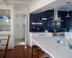 Blue Subway Tile Backsplash Houzz - Blue tile backsplash kitchen