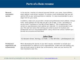 Recommended Resume Font Bain Resume Sample