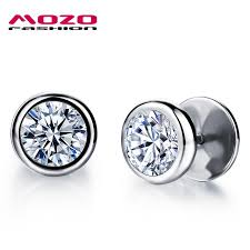 earring for men mozo fashion earring black silver stainless steel cubic