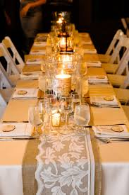 candle runners burlap lace table runner with birch candles for a fall wedding