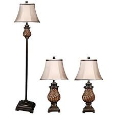 toffee wood 3 piece table lamps and floor lamp set 5t029