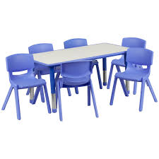 plastic play table and chairs ff rectangle 24 x 48 activity table 6 chair set blue work