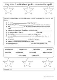 10 free esl syllables worksheets