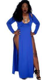 blue dresses royal blue slit hemline maxi plus size bodycon dress