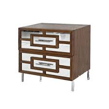 st tropez antique mirrored walnut side table nightstands brown