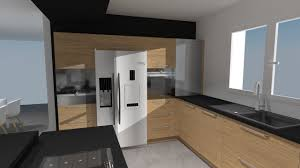 cuisine incorporé cuisine noir et blanc et bois