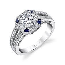 sapphire accent engagement rings vintage engagement ring with blue sapphire accents