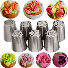 flower decorating tips 7pcs russian icing piping nozzles tips cake decorating sugarcraft