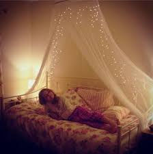 bed canopy with lights megan 039 s new vintage daybed with floral bedding and fairy bed