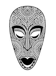african mask africa coloring pages adults justcolor