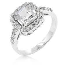 simulated engagement ring princess 14k white gold bonded 4 2ct simulated engagement