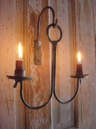 Rustic Sconce Rustic Sconce Lighting Candle Holder Wall Hanging Blacksmith