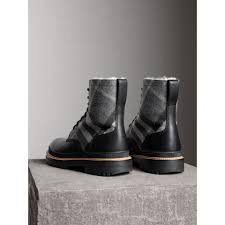 mens black motorcycle boots shearling lined leather and check boots in black men burberry
