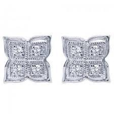 diamond studd white gold butterfly shaped diamond studd earrings
