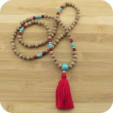 beads necklace images Palmwood meditation mala beads necklace with turquoise magnesite jpg