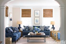 blue and white family room house beautiful pinterest favorite