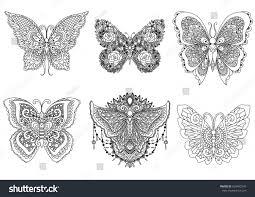 set beautiful unique butterflies design element stock vector