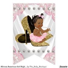 african american high heel shoe baby shower bunting flags