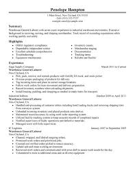 resume objective examples for warehouse sample in word format