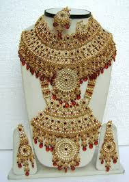 wedding necklace set red images Red color bridal lengha choli jewelry necklace sets at rs 3250 jpg