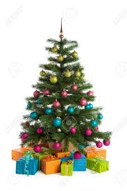 potted christmas tree potted christmas tree with green pink blue and purple baubles