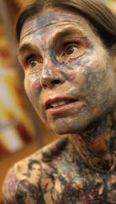 weird looking female body covered 95 with tattoos must watch