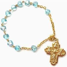bracelet rosary aqua glass heart rosary bracelet christian catholic shop
