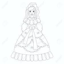 beautiful princess coloring book page royalty free cliparts