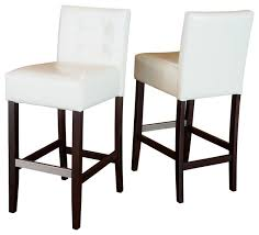 gregory ivory leather back bar stools set of 2 contemporary