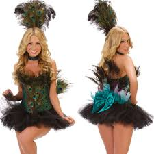Peacock Halloween Costume Girls Womens Deluxe Peacock Bird Showgirl Halloween Costume