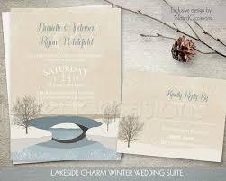 Snowflake Wedding Invitations Rustic Winter Wedding Invitations Set Tree Snowflakes Country