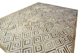 white and beige leather area rug diamond design shine rugs