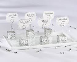 silver glitter placecard holder wedding favors