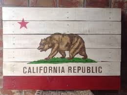 california republic state flag painted on reclaimed pallet