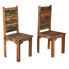 Reclaimed Dining Chairs Distressed Reclaimed Wood Multi Color Dining Chairs Set Of 2