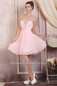 Baby Pink Empire Sweetheart Short Dama Dresses With Beading 85 98