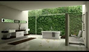stunning outdoor bathroom ideas with high green plant wall and