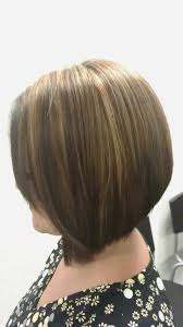 hi lohair cuts triangular graduated haircut with high low lights makeup and